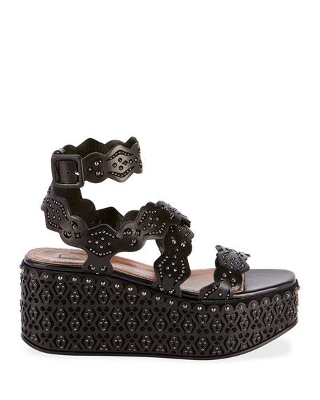 ALAIA Laser-Cut Platform Sandals