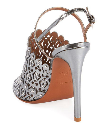 ALAIA Laser-Cut Studded Pumps, Silver