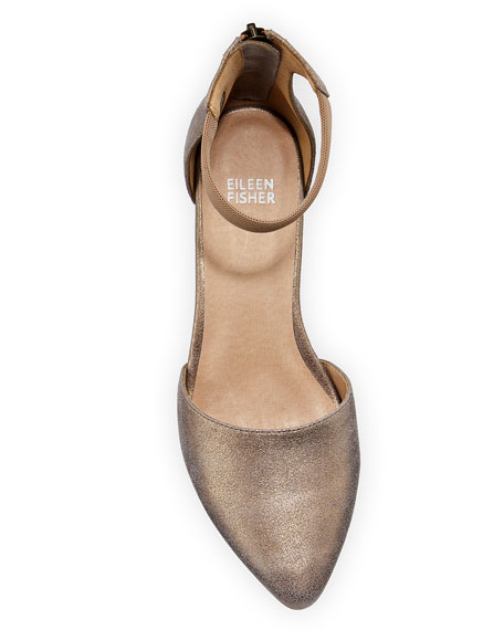 Eileen Fisher Just Low-Heel Metallic Pumps
