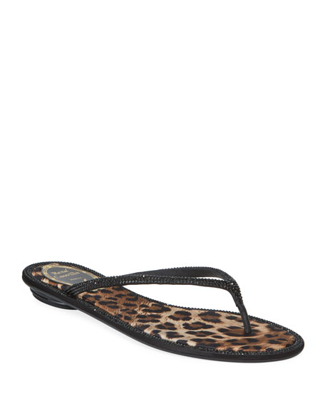 Rene Caovilla Flat Leopard-Lined Thong Sandals