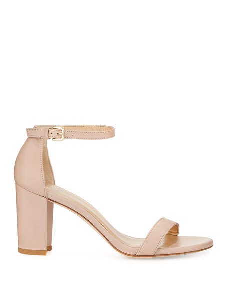 Stuart Weitzman Nearlynude Leather Ankle-Strap Sandals