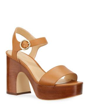 MICHAEL Michael Kors Fiona Leather Block-Heel Platform Sandals