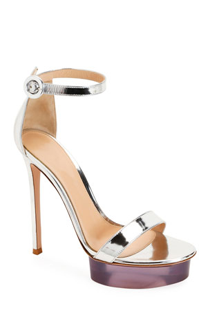 Gianvito Rossi Metallic Metal Rubber Sandals
