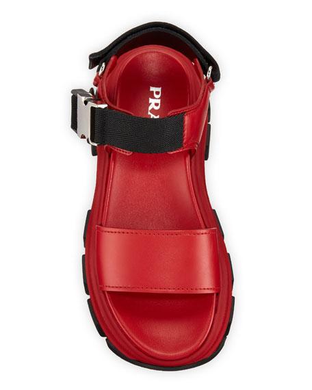 Prada Leather Flatform Lug-Sole Sandals