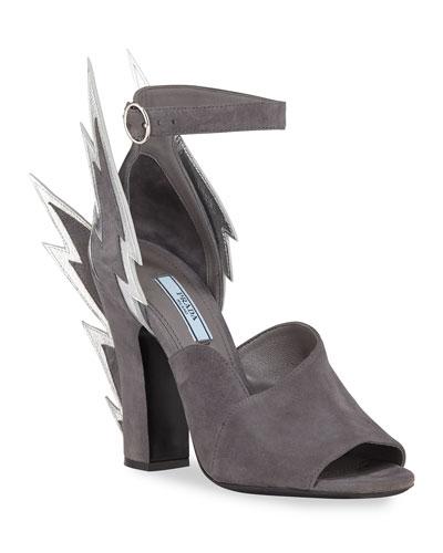 Suede Lightning Bolt Ankle-Wrap Sandals