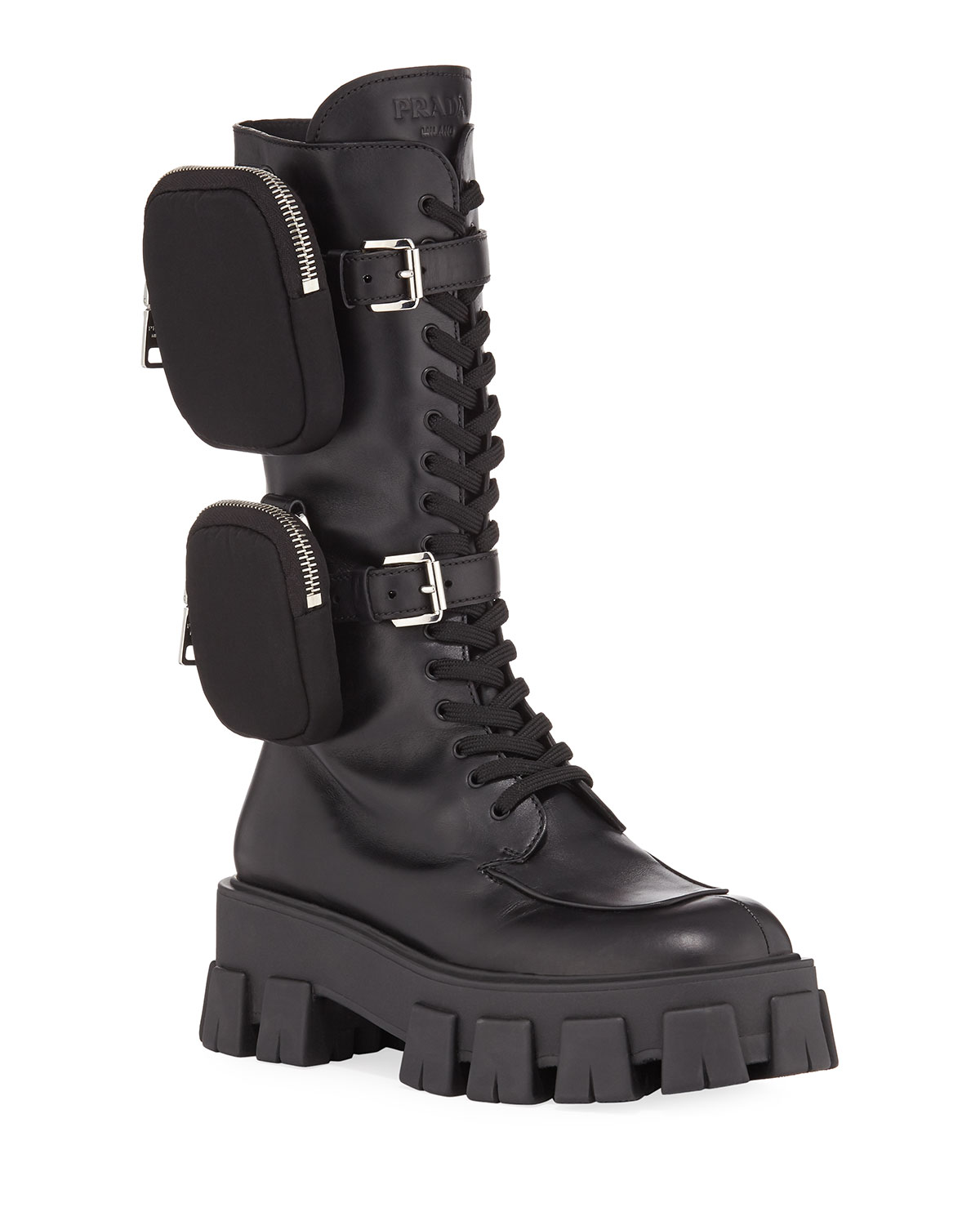 Exact Product: 55mm Lace-Up Zip Pouch Platform Moto Boots, Brand: Prada, Available on: neimanmarcus.com