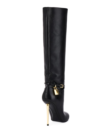 TOM FORD Leather Knee Boots with Padlock