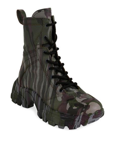 Miu Miu Women's Calzature Camo-Print Platform Combat Boots In Military Green
