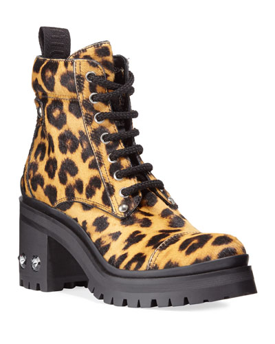 Leopard-Print Crystal-Heel Hiker Booties