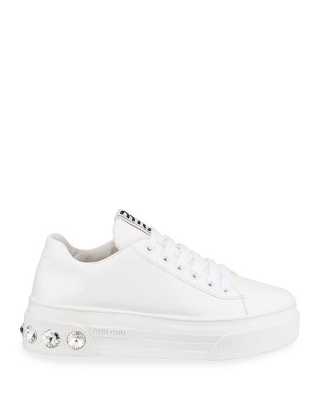 Miu Miu Patent Leather Sneakers with Crystal Heel