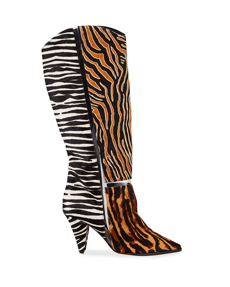 Alexandre Birman Dora Mixed Animal-Print Knee Boots