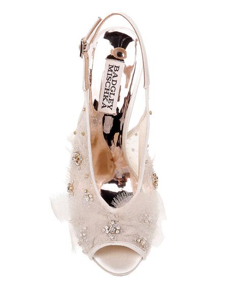 Badgley Mischka Aimee Embellished Mesh Pumps