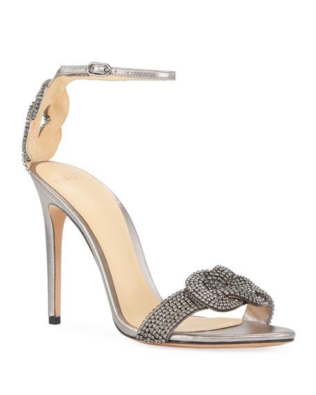 Alexandre Birman Vicky Crystal Metallic Sandals