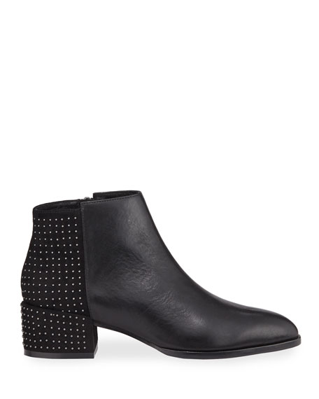 Donald J Pliner Mixed Leather Micro Stud Booties