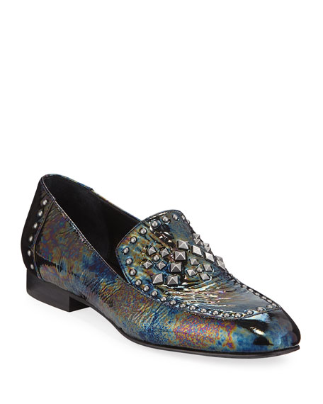 Donald J Pliner LUKAS STUDDED IRIDESCENT PATENT LEATHER LOAFERS