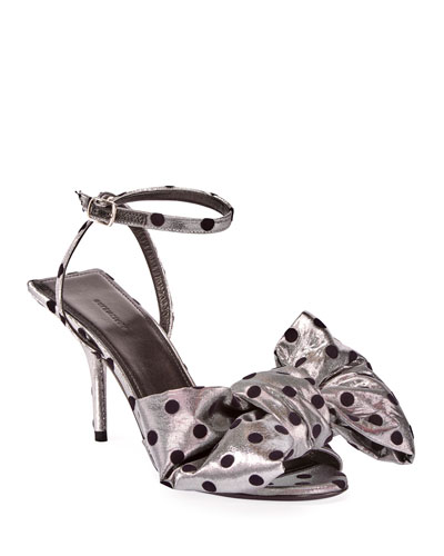 Square Knife Bow Polka-Dot Sandals