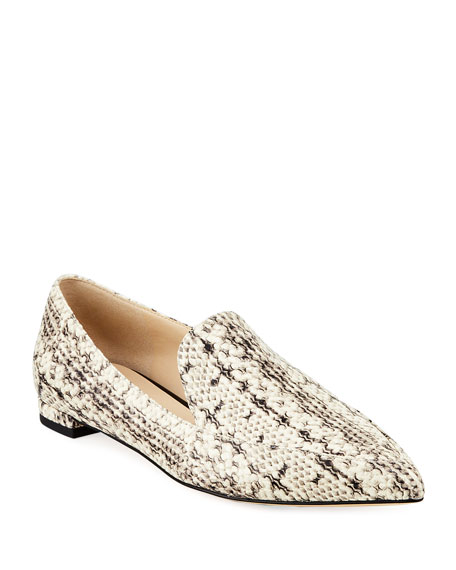 Cole Haan Brie Grand Snake-Print Leather Flats