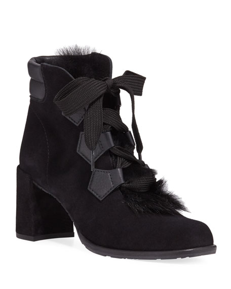 Pedro Garcia Wilmette Lace-Up Booties with Fur Trim