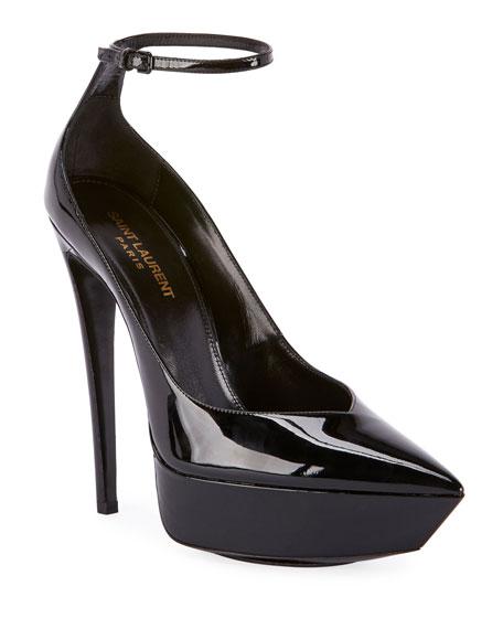 Saint Laurent Betty Patent Ankle-Strap Pumps