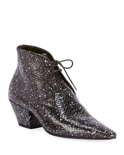 Belle Speckled Python Lace-Up Booties