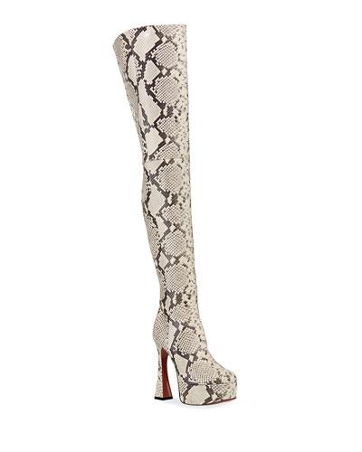 Dua Snake-Print Thigh-High Boots