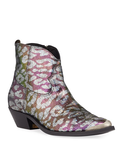 Young Sparkle Snake-Print Booties
