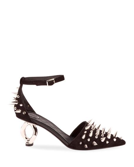 Balmain Ocila Spike Suede Sandals