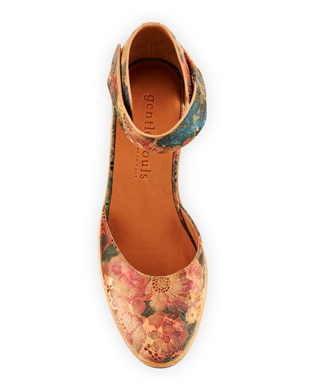 Gentle Souls Blaise Floral Printed Leather Wedge Pumps