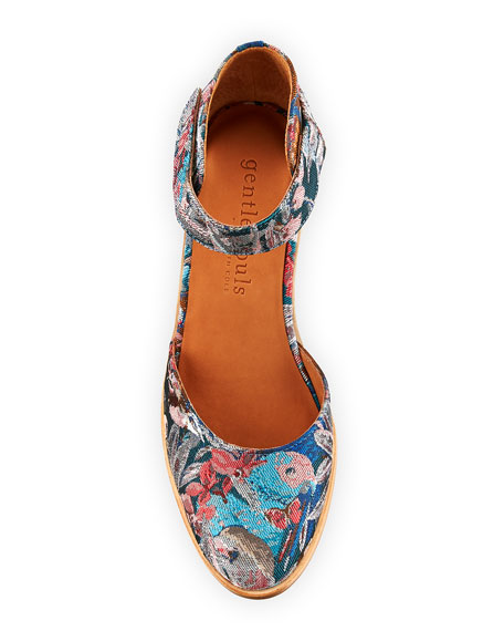 Gentle Souls Blaise Floral Fabric Wedge Pumps