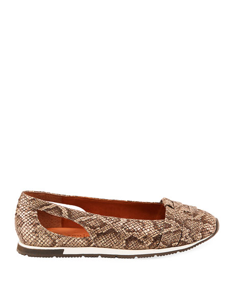 Gentle Souls Luca Snake-Print Leather Comfort Flats