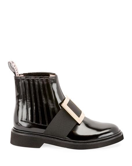 Roger Vivier Patent Leather Pilgrim Buckle Booties