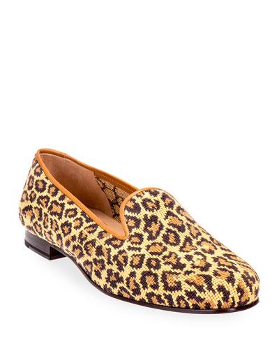 Jane True Needlepoint Cheetah Slippers