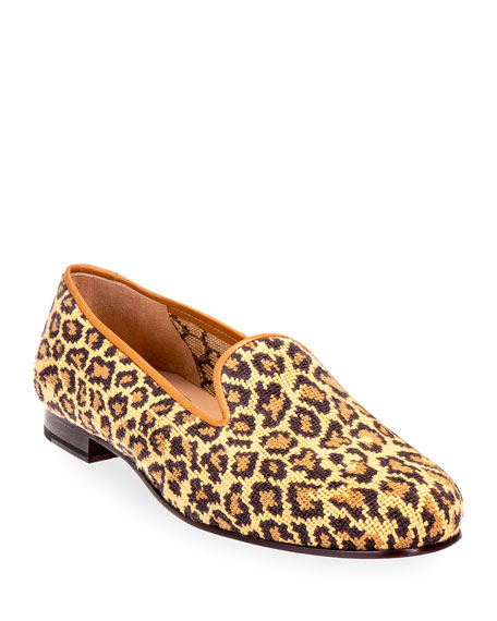 Stubbs and Wootton Jane True Needlepoint Cheetah Slippers