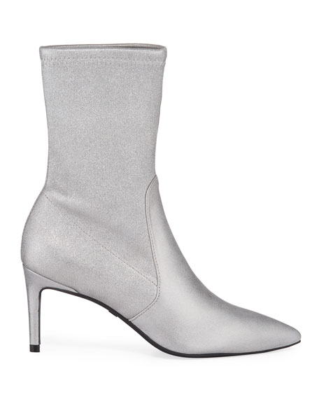 Stuart Weitzman Wren Metallic Stretch-Suede Sock Booties