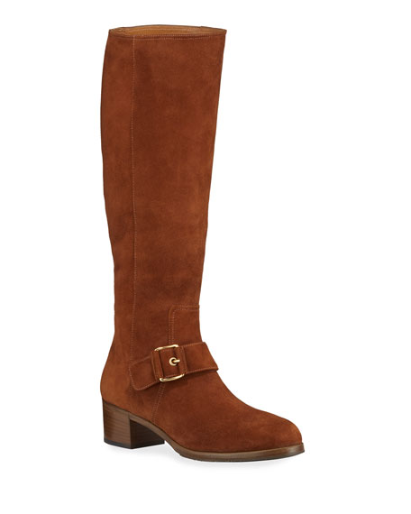 Gravati Tall Suede Buckle Boots