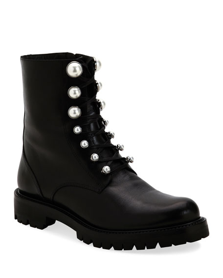 Rene Caovilla Combat Boots with Pearly Detail