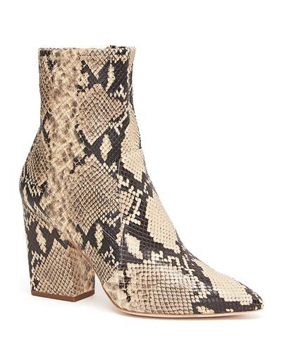 Isla Slim Snake-Print  Ankle Booties