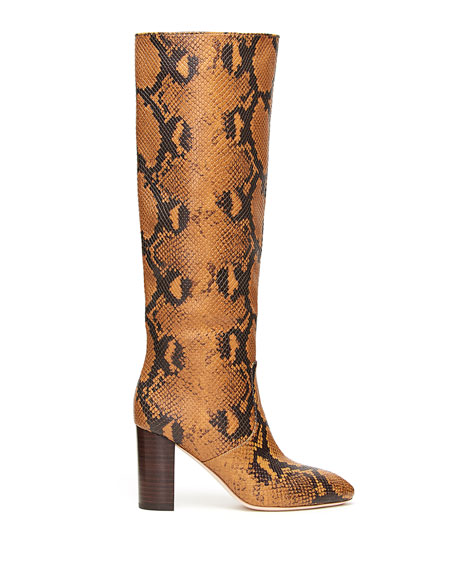 Image 2 of 4: Loeffler Randall Goldy Python-Print Leather Knee Boots