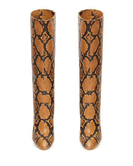 Image 3 of 4: Loeffler Randall Goldy Python-Print Leather Knee Boots