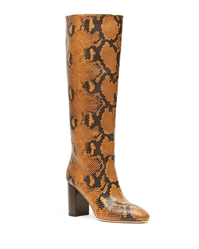 Goldy Python-Print Leather Knee Boots
