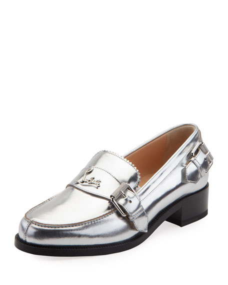 Christian Louboutin Monmoc Metallic Leather Loafers