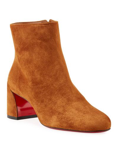 Turela Suede Block-Heel Red Sole Booties