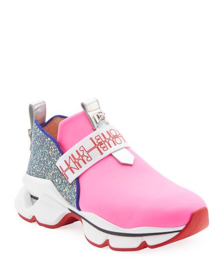 Christian Louboutin Lipsy Run Glitter Red Sole Sneakers