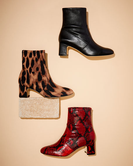 Stuart Weitzman Niki Stretch Python-Print Leather Booties