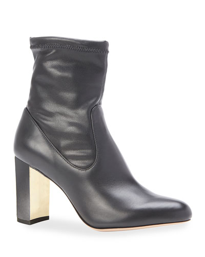Kate Stretch Leather Block Heel Booties