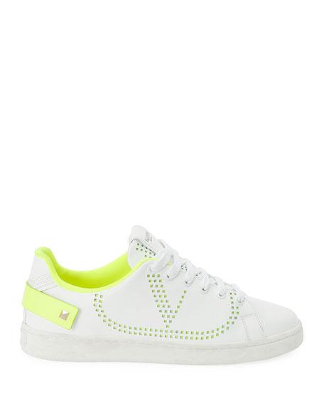 Valentino Garavani Backnet Low-Top Sneakers with Neon Rockstud Tab