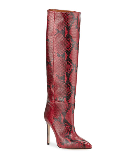 Paris Texas Python-Print Stiletto Knee Boots
