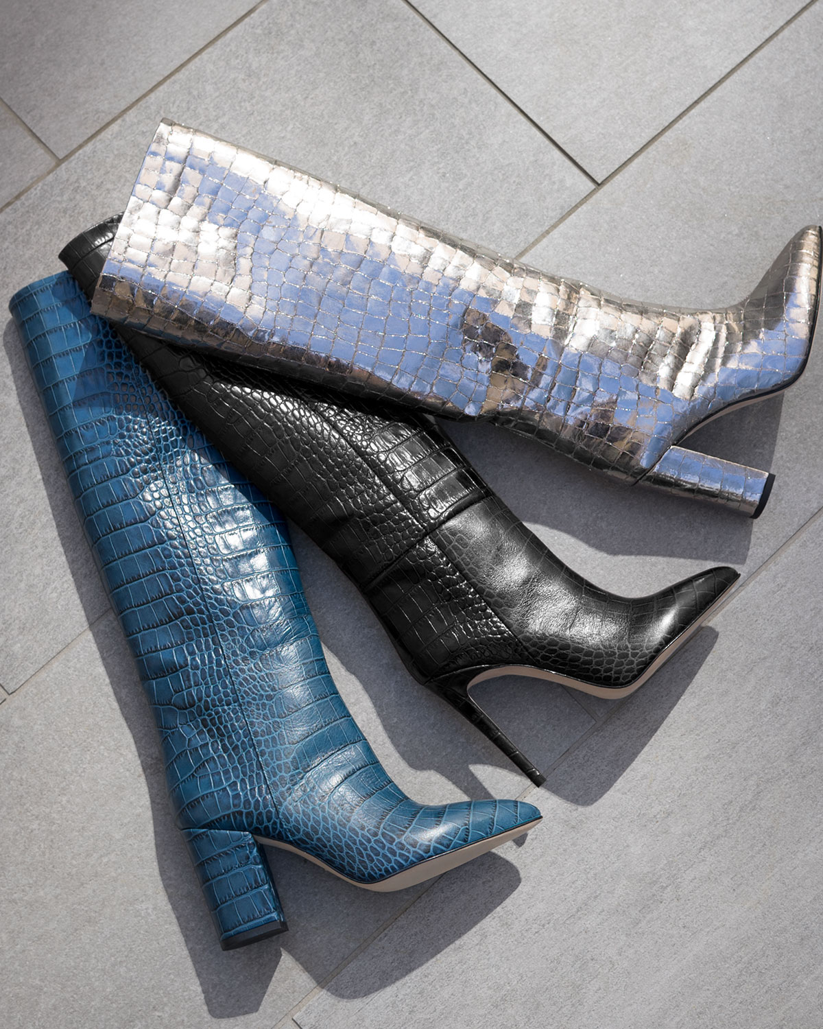Metallic Croc Embossed Leather Knee Boots by Paris Texas