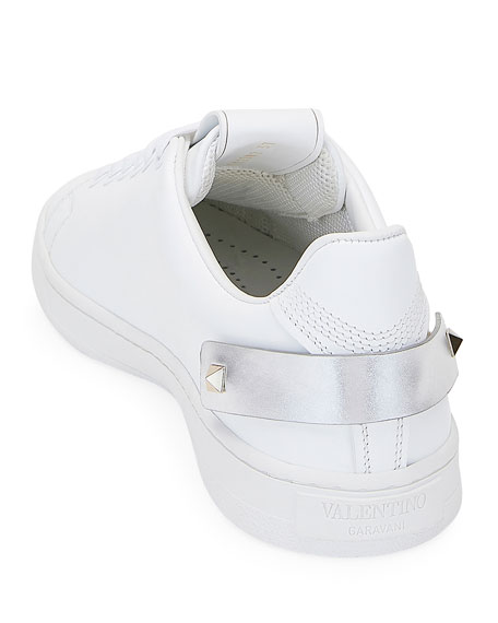 Valentino Garavani Backnet Low-Top Sneakers with Metallic Rockstud Tab