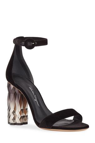 Salvatore Ferragamo Azalea High Velvet Sandals